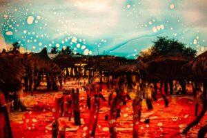 abstaktes Bild bunt, Diapositiv für Projektion, handcrafted, surreales foto von verlassenen Huetten in rot psychodelisch coloriertem Hintergrund