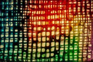 abstaktes Bild bunt, Diapositiv für Projektion, handcrafted, Miniaturansicht coloriertes netz