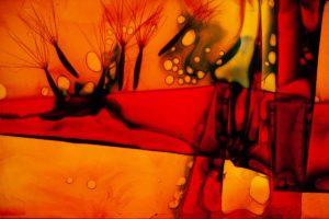 abstaktes Bild bunt, Diapositiv für Projektion, handcrafted, gefalltete Folie rot